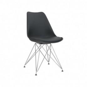 Sedia in metallo cromato e polipropilene con cuscino in ecopelle - Colore Nero